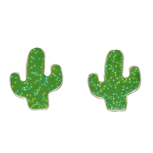 Cactus Stud Earrings with Glitter Enamel