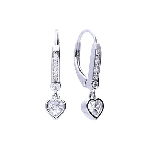 Bezel Set Zirconia Heart Hoop Earring with Pave Detail