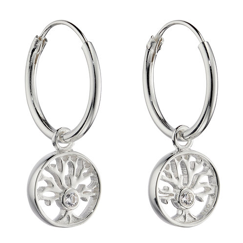 Tree of Life Assembled Hoop Earrings with Cubic Zirconia