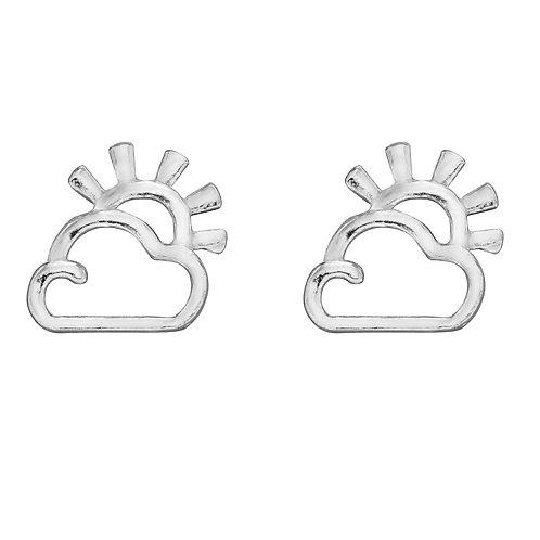 Sun and Cloud Stud Earrings