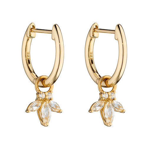9ct Yellow Gold Charm Hoop Earrings with Semi-Precious Stones