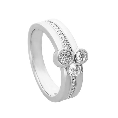 Multi Band Pave Ring with Triple Zirconia Stones