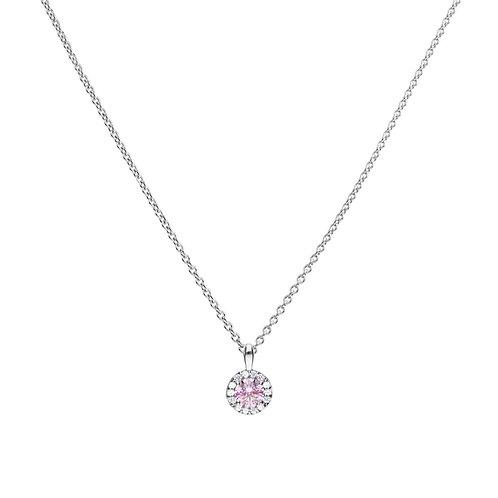 Dusky Pink Zirconia Pave Set Necklace
