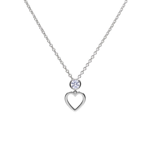 Bezel Set Zirconia Open Heart Necklace