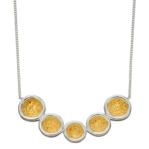 Sterling Silver Hammered Disc Necklace with Yellow Gold Plating