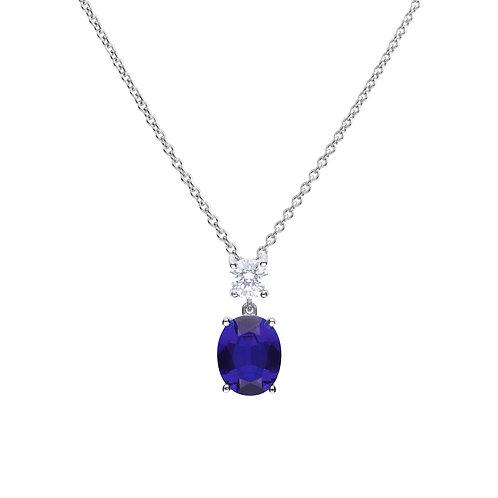 Oval Sapphire Blue Zirconia Drop Necklace