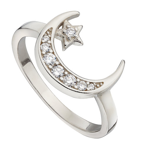 Pave Set Crescent Moon and Star Ring with Cubic Zirconia