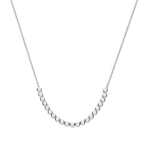 Bezel Set Zirconia Half Tennis Necklace