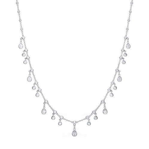 Multi Zirconia Stone Drop Necklace