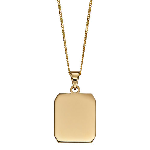 9ct Yellow Gold Dog Tag Style Necklace
