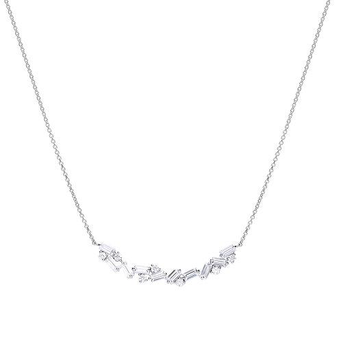 Baguette Zirconia Scatter Necklace