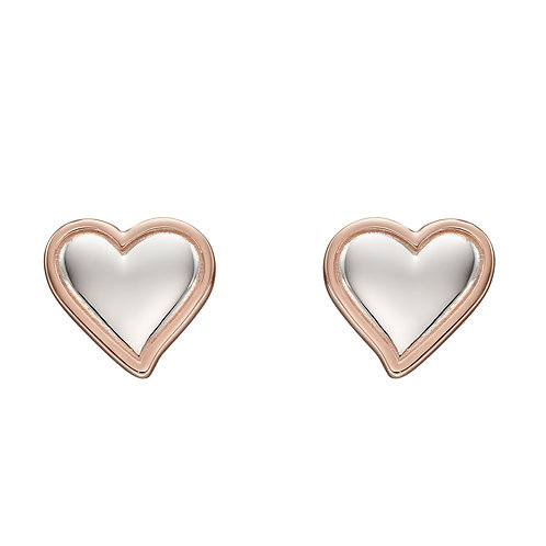 Fiorelli Double Heart Earrings with Rose Gold Plating