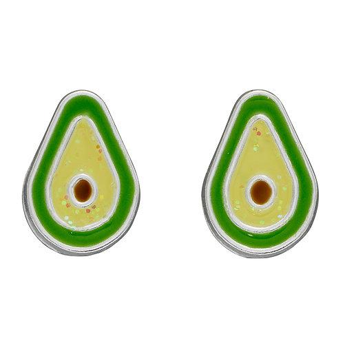 Avocado Stud Earrings with Glitter Enamel