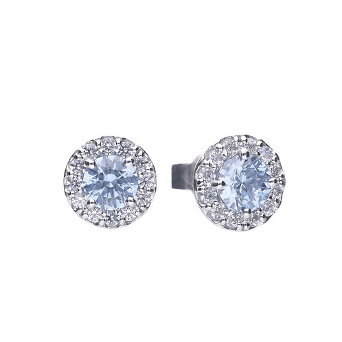 Sky Blue Zirconia Pave Set Stud Earrings