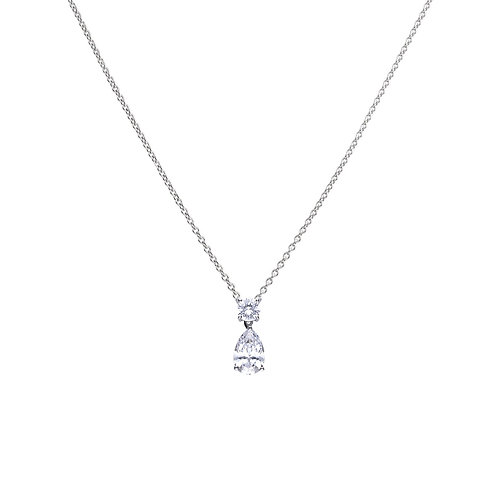 Claw Set Zirconia Teardrop Necklace