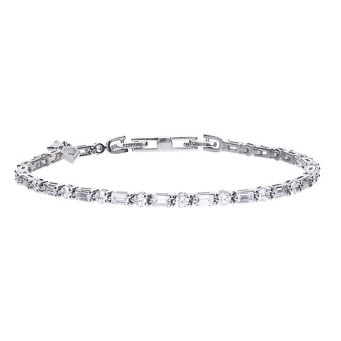Baguette and Round Cut Zirconia Bracelet