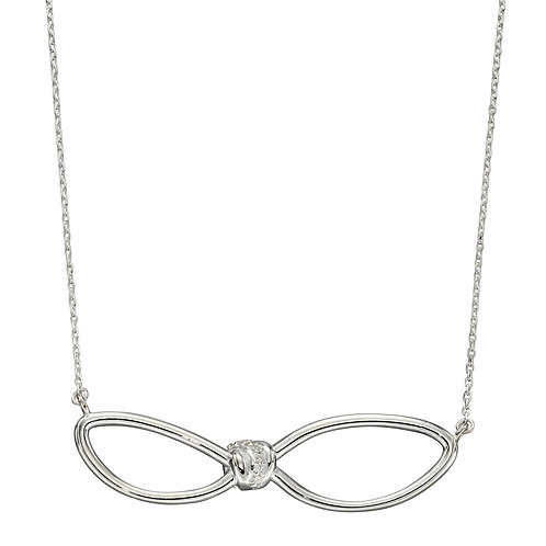 Sterling Silver Loose Knot Accent Necklace with Cubic Zirconia