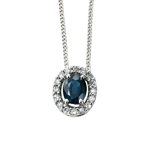 Precious Stone and Diamond Cluster Necklace in 9ct White Gold