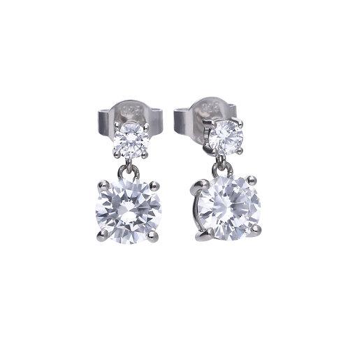 Claw Set Double Zirconia Drop Earrings