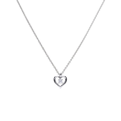 Open Heart Necklace with Four Claw Mounted Zirconia