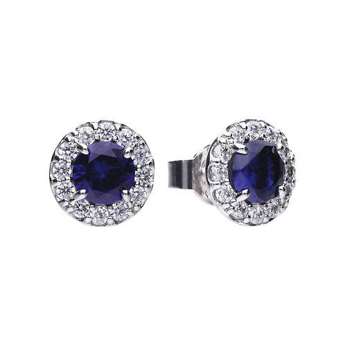 Sapphire Blue Zirconia Solitaire Stud Earrings