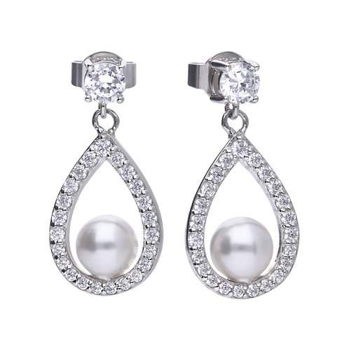 Teardrop Pave Set Zirconia with Round Pearl Earrings