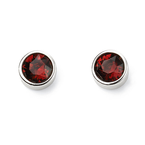 Sterling Silver Birthstone Earrings with Crystals by Swarovski