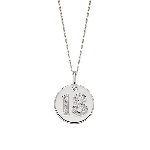 Sterling Silver 18 Disc Necklace or Charm with Cubic Zirconia