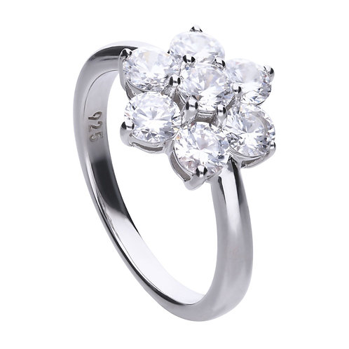 Flower Shaped Zirconia Cluster Ring