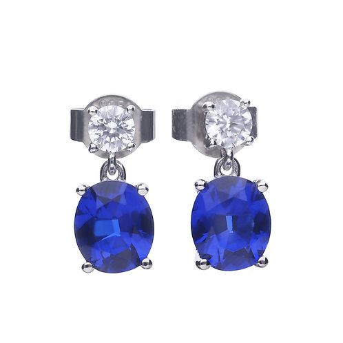 Oval Sapphire Blue Zirconia Drop Earrings