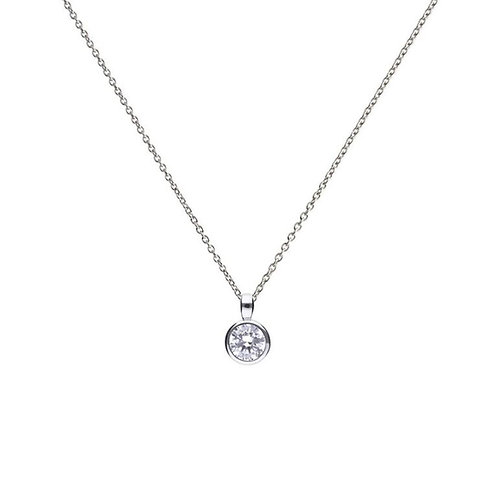 Bezel Set 1ct Zirconia Solitaire Necklace