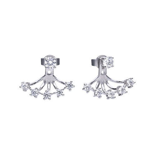 Claw Set Zirconia Front Back Earrings