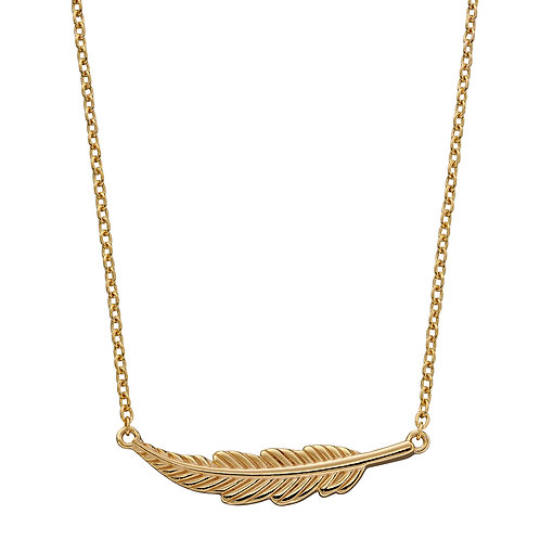 Yellow Gold Plated Feather Necklace
