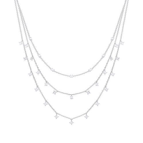 Triple Row Zirconia Necklace