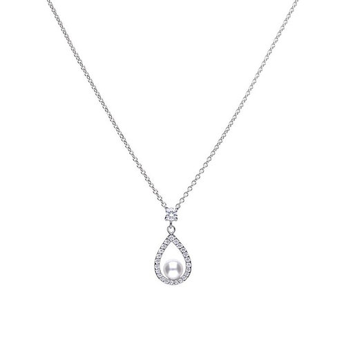 Teardrop Pave Set Zirconia with Round Pearl Necklace