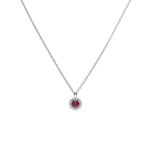 Ruby Red Zirconia Solitaire Necklace