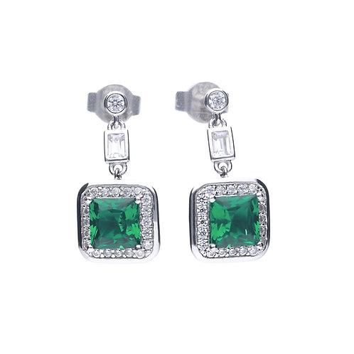 Emerald Green Zirconia Pave Set Drop Earrings