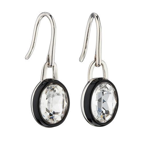 Fiorelli Clear Preciosa Crystal Earrings with Black Enamel Border