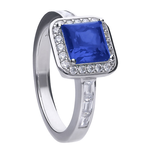 Sapphire Blue Zirconia Pave Set Ring