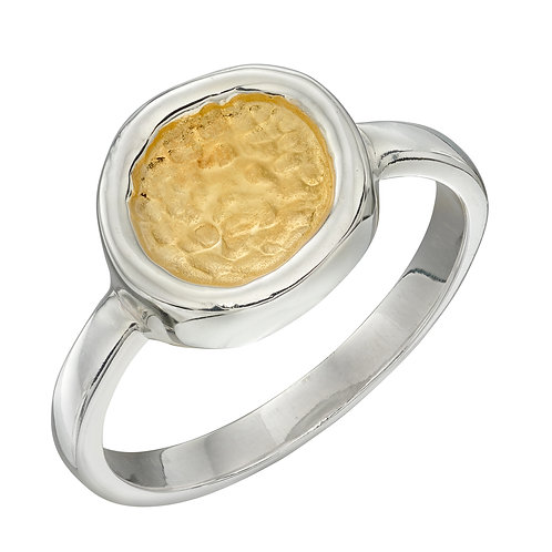 Sterling Silver Hammered Disc Ring with Yellow Gold Plating