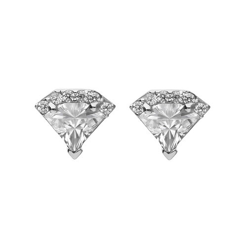 Diamond Shaped Zirconia Stud Earrings