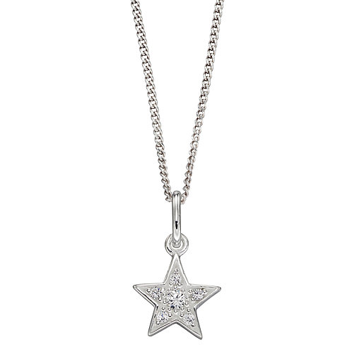 Pave Set Star Necklace with Cubic Zirconia