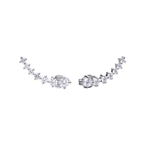 Claw Set Zirconia Elongated Stud Earrings