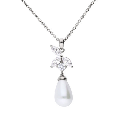 Diamonfire Marquise and Pearl Necklace