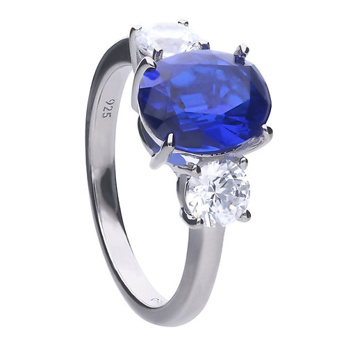 Oval Sapphire Blue Zirconia Trilogy Ring