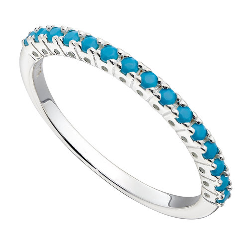Half Eternity Ring with Turquoise Crystal