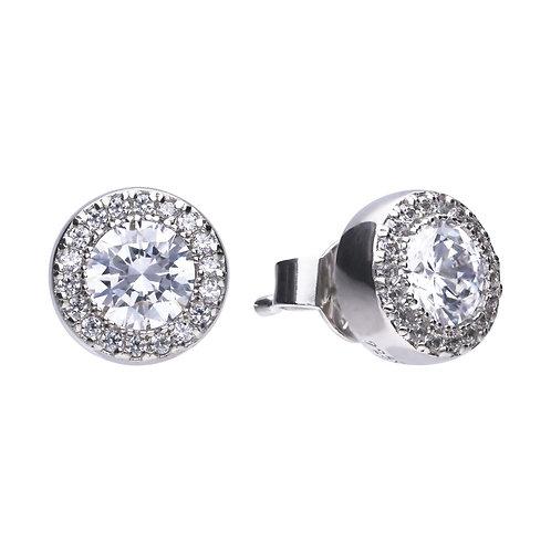 Pave Set Zirconia Halo Stud Earrings