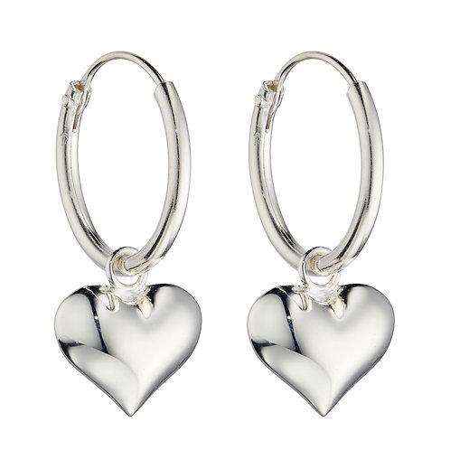 Puffed Heart Charm Assembled Hoop Earrings