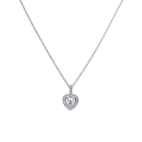 Heart Shaped Pave Set Zirconia Necklace
