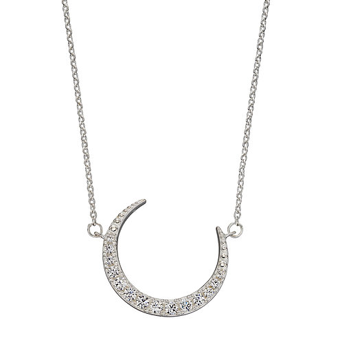 Crescent Moon Necklace with Cubic Zirconia